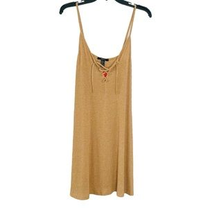 🐣 FOREVER 21 RIBBED CAMEL DRESS MINI SIZE XL NEW